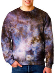 Model In Colorful Galaxy Sweater Front View