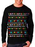 Model In Black Long Sleeve Emoji Christmas Design