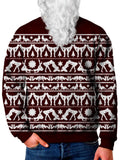 Model In Red Rated X Christmas Sweater Front View