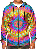 Model In Trippy Neon Zip Up Hoodie