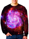 Model In Beautiful Trippy Space Swirls Sweater