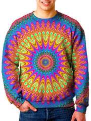 Model In Colorful Trippy Sweater Front View