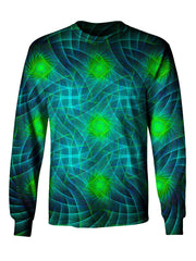 Gratefully Dyed Apparel blue & green geometric fractal unisex long sleeve front view.