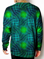 Model back view of all over print psychedelic sacred geometry unisex longsleeve.