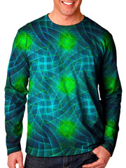 Front view of model wearing Gratefully Dyed Apparel geometric fractal unisex long sleeve.