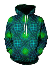 Men's green & blue light show mandala fractal pullover hoodie front view.