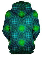 Rear of women's green & blue light show sacred geometry all over print hoody.