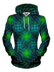 Women's front view of trippy mandala fractal pullover hoodie.