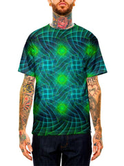 Model wearing GratefullyDyed Apparel blue & green geometric fractal unisex t-shirt.