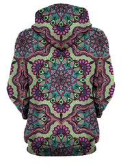 Rear of women's all over print purple, green & pink psychedelic pastel mandala hoody.