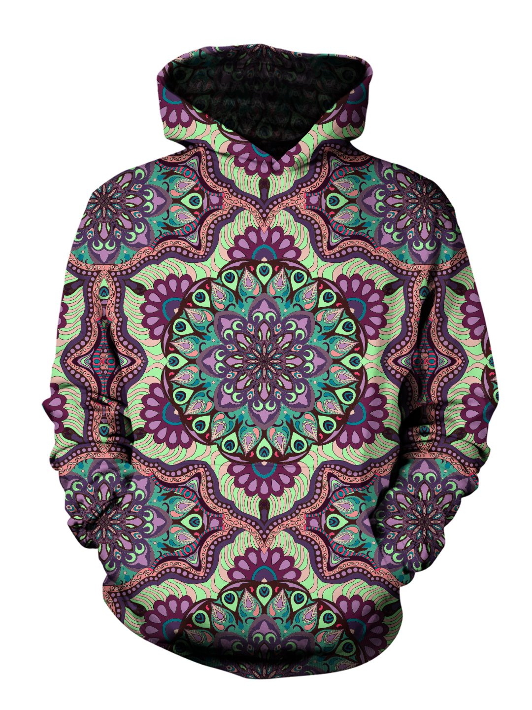 Men's purple, green & pink pastel retro mandala pullover hoodie front view.