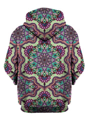 Rear of purple, green & pink retro pastel mandala zip-up hoody.