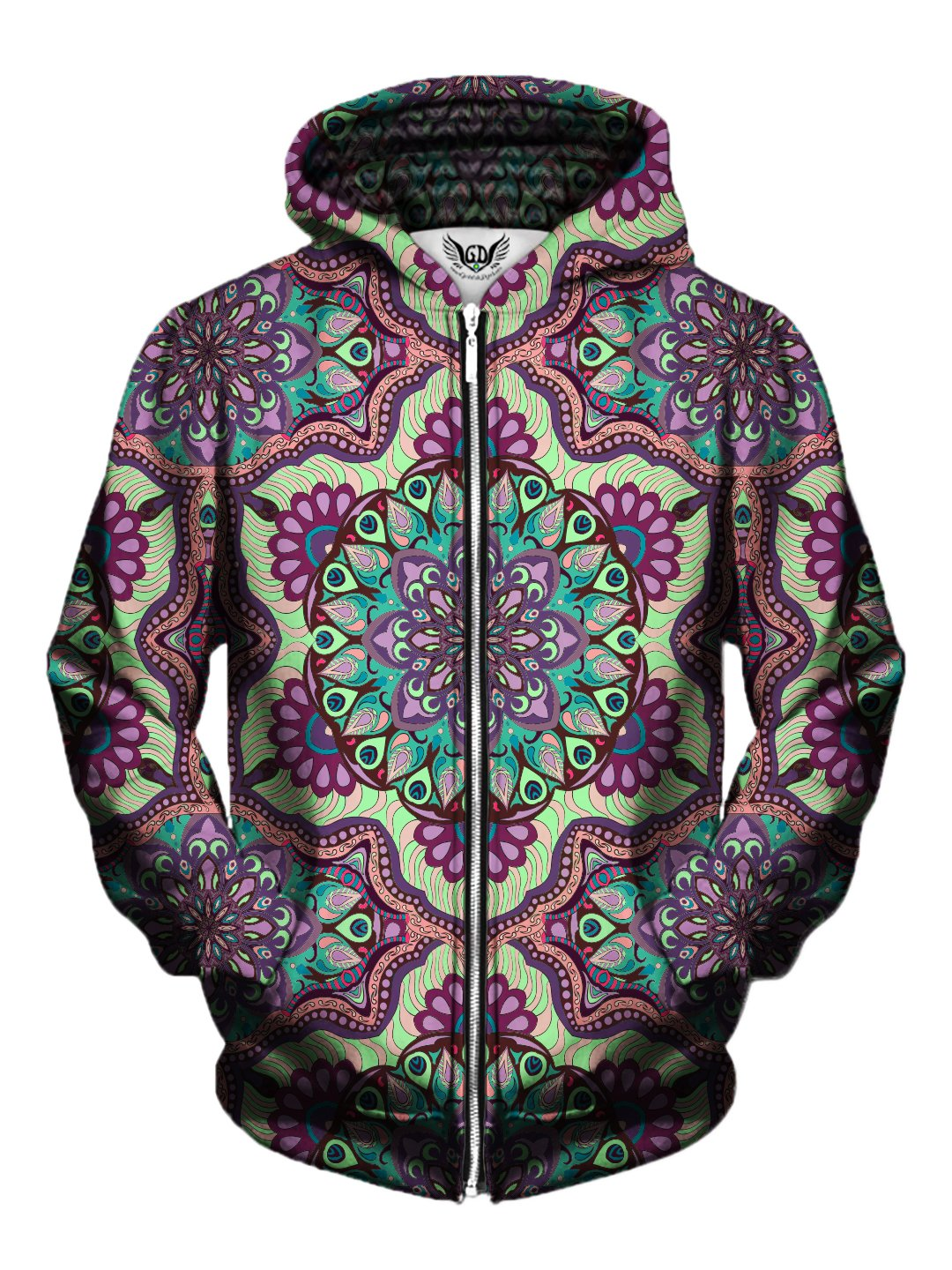Men's purple, green & pink pastel mandala zip-up hoodie front view.