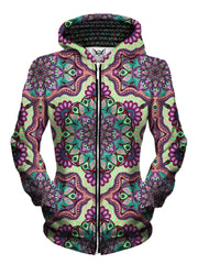 Front view of women's all over print psychedelic sacred geometry zip up hoody by Gratefully Dyed Apparel.