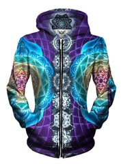 Beautiful Sacred Geometry Zip Up Hoodie Womens Front