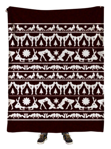 Naughty Christmas Blanket Maroon and White