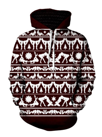 Naughty Maroon Christmas Pullover Hoodie Front View