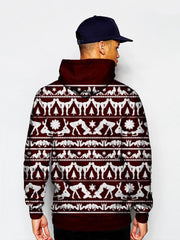 Model In Naughty Maroon Christmas Pullover Hoodie Back View