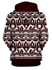 Naughty Maroon Christmas Pullover Hoodie Womens Back View