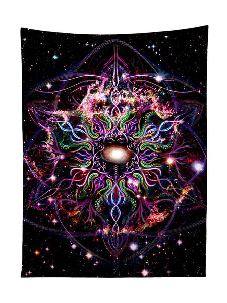 Vertical hanging view of all over print rainbow nebula mandala galaxy tapestry by GratefullyDyed Apparel.