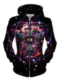 Front view of women's all over print sacred geometry space zip up hoody by Gratefully Dyed Apparel.
