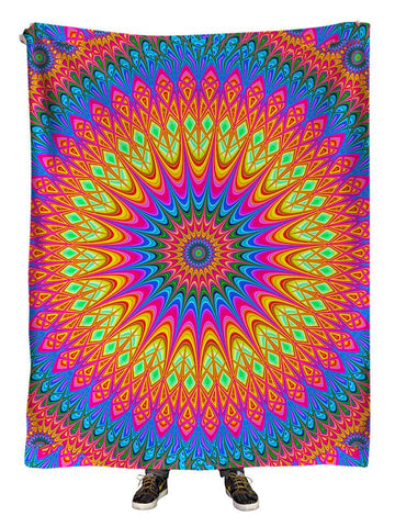 Hanging view of all over print rainbow mandala blanket by GratefullyDyed Apparel.