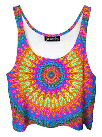 Trippy front view of GratefullyDyed Apparel rainbow mandala crop top.