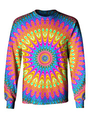 Gratefully Dyed Apparel rainbow mandala unisex long sleeve front view.