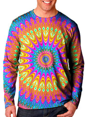 Front view of model wearing Gratefully Dyed Apparel rainbow mandala unisex long sleeve.