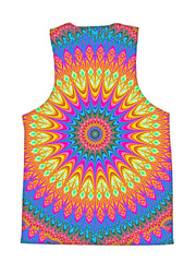 Psychedelic all over print sacred geometry tank by GratefullyDyed Apparel back view.