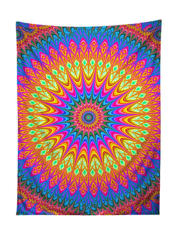 Vertical hanging view of all over print rainbow mandala tapestry by GratefullyDyed Apparel.