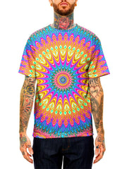 Model wearing GratefullyDyed Apparel rainbow mandala unisex t-shirt.