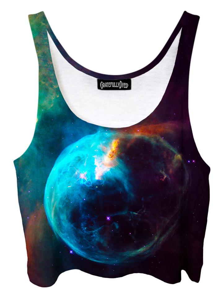 Trippy front view of GratefullyDyed Apparel black & blue planet galaxy crop top.