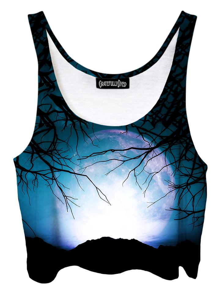 Trippy front view of GratefullyDyed Apparel black & blue forest galaxy crop top.