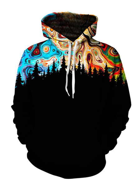 marble painted sky and tree skyline hoodie