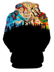 back view of trippy pullover hoodie print