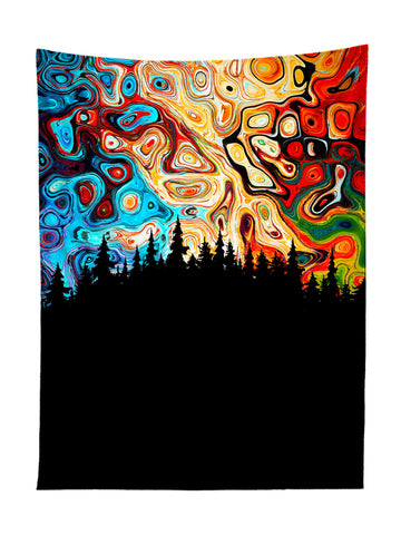 Vertical hanging view of all over print red, orange, blue & black psychedelic nature tapestry by GratefullyDyed Apparel.