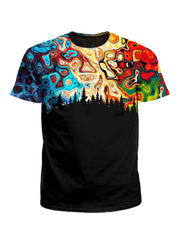 Men's psychedelic rainbow galaxy treeline unisex t-shirt front view.