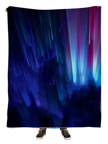 Hanging view of all over print blue northern lights galaxy blanket by GratefullyDyed Apparel.