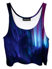 Trippy front view of GratefullyDyed Apparel blue northern lights galaxy crop top.