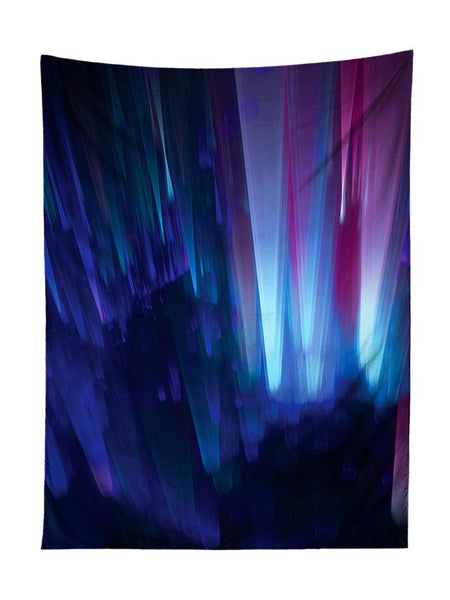 Vertical hanging view of all over print blue northern lights galaxy tapestry by GratefullyDyed Apparel.