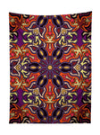 Vertical hanging view of all over print purple, orange & yellow mandala tapestry by GratefullyDyed Apparel.