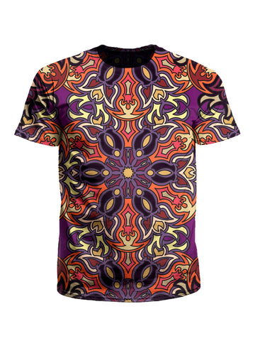 Men's purple, orange & yellow mandala unisex t-shirt front view.