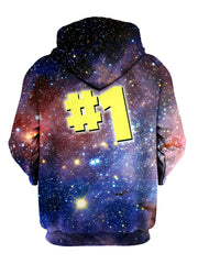 Back view of all over print number one galaxy hoody by Gratefully Dyed Apparel.