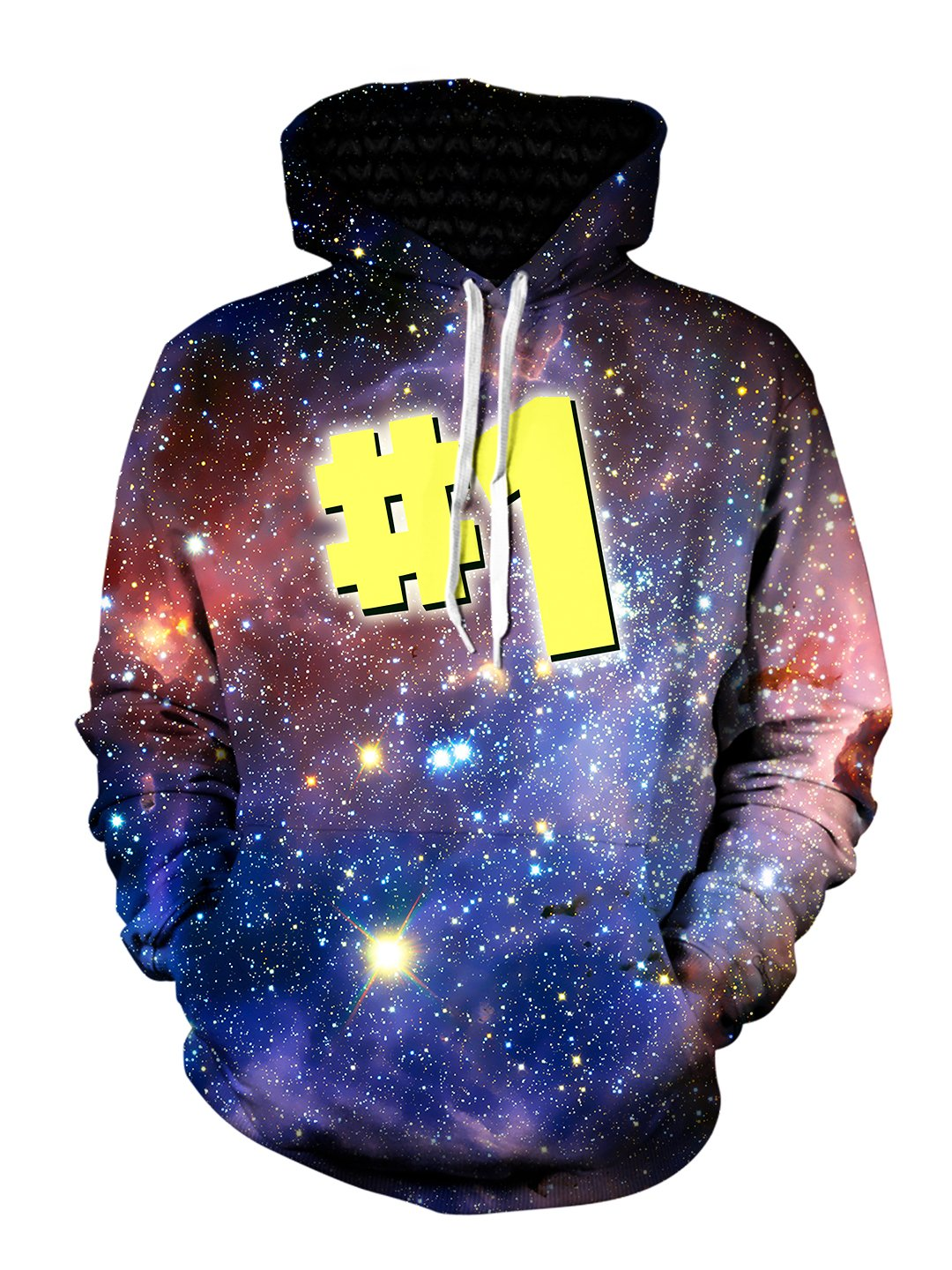 Men's pink & blue galaxy #1 pullover hoodie front view.