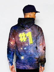 Model wearing GratefullyDyed Apparel psychedelic number one galaxy hoodie.