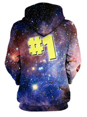 Rear of women's pink & blue #1 galaxy all over print hoody.