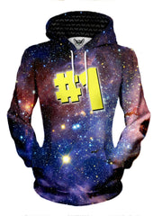 Women's front view of trippy space art pullover hoodie.