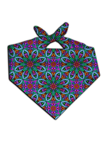 All over print purple, blue & green flower fractal bandana by GratefullyDyed Apparel tied neck scarf view.