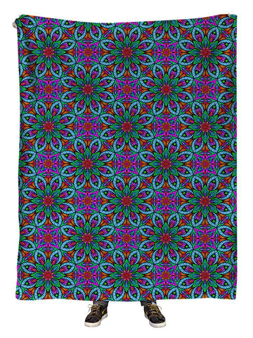 Hanging view of all over print purple, blue & green sacred geometry blanket by GratefullyDyed Apparel.